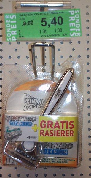[Lokal Halle/S.] Wilkinson Quattro Titatnium 5 Stk inkl. Rasierer