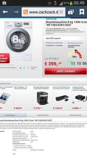 """Samsung  Waschmaschine 8 kg 1400 U/min """"WF10824Z8V/XEG"""" Nur 399 € bei ZackZack Versandkostenfrei"""