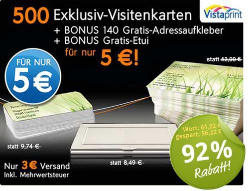 500 Exclusiv-Visitenkarten, edles Etui und 140 Adressaufkleber bei Vistaprint für 5 €