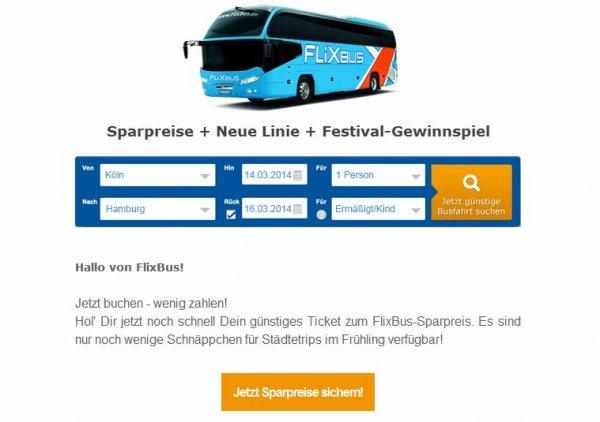 Sparpreise ab 5 Euro @flixbus