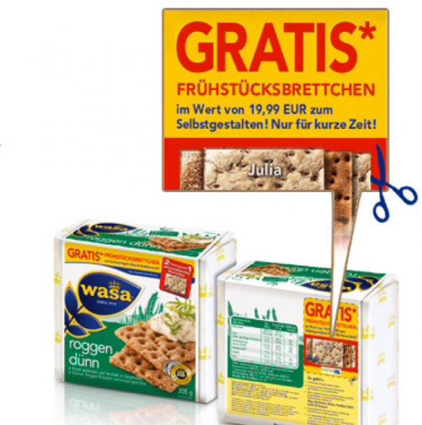 [WASA] personalisiertes Frühstücksbrettchen für den Kauf von zwei Aktionspackungen / nur Versandkosten von 4,99 Euro