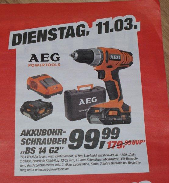 """Toom Baumarkt Langenfeld nur am 11.03. AEG """"BS 14 G2"""" Akku-Schrauber 99,99€"""