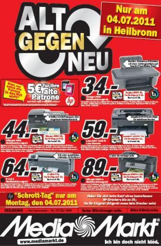 Alt gegen Neu HP Drucker Aktion im Media Markt Heilbronn, aber nur am 04.07.2011