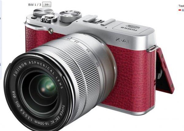 Fujifilm X-A1 rot mit Objektiv XC 16-50mm und XC 50-230mm