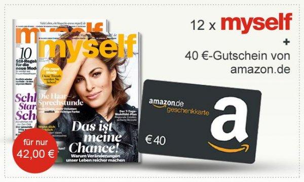 Myself Jahresabo für effektiv 2€ durch 40€ Amazon Gutschein wieder da [ + 2€ Cashback]