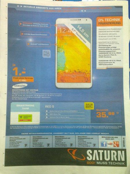 Das Galaxy Note 3 im Vodafone Tarif RED S / Allnet-Flat (MD) für rechnerisch 13,11€/mtl. (1x Gerätepreis 1€)