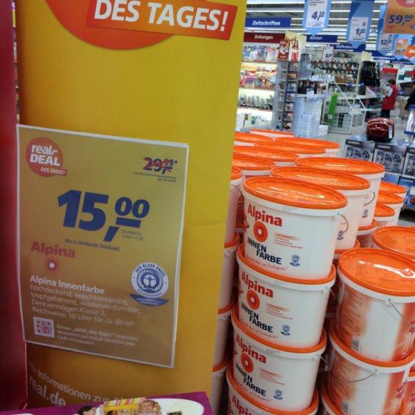 ALPINA Innenfarbe 10 Liter für 15 Euro @real