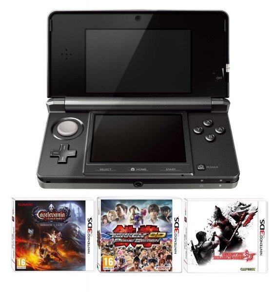 Nintendo 3DS Cosmic Black + Castlevania/Resident Evil/Tekken 3D @ Amazon UK