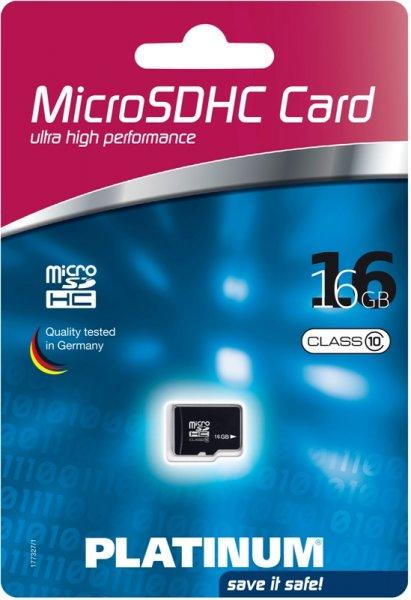 Platinum 16GB Micro SDHC Class 10 Speicherkarte @ebay  8,99€