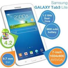 Samsung Galaxy Tab 3 7.0 LITE Wi-Fi 17,8 cm (7 Zoll) Tablet-PC (Dual Core Prozessor, 1,2GHz, 1GB RAM, 8GB HDD, Android 4.2) für 105€ bei iBOOD incl.Versand