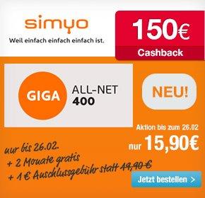 [Qipu] Simyo Giga-all-net 400 statt 15,90€ für effektiv 8,37 Euro pro Monat