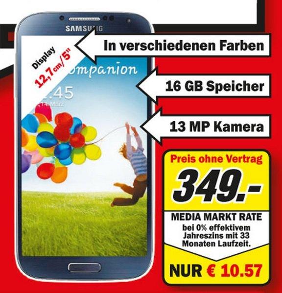 Samsung Galaxy S4 16GB für 349€ Lokal [Mediamarkt Krefeld]