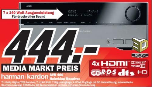 Media Markt Emden & Co: Harman/Kardon AVR 460 7.1 A/V-Receiver für 444€ (PVG 811€)!