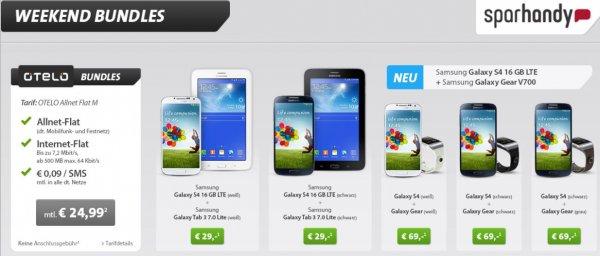 Sparhandy Weekend Bundle Deal -  2 Geräte -  Galaxy S4 und Galaxy Tab oder Galaxy Gear V700 Uhr -  Allnet Flat  24,99 €  monatlich