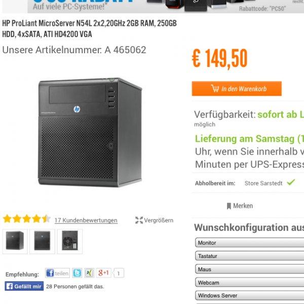 HP N54L, 2Gb RAM , 250GB Hd,  für 118,41€ mit 0% Finanzierung