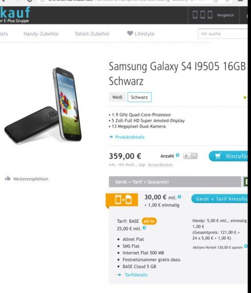 Samsung Galaxy S4 oder HTC One ssmartkauf.de / oder im Baseshop