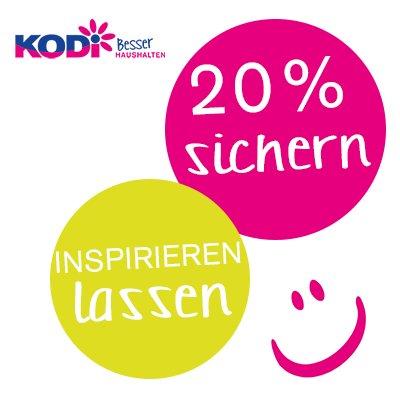 KODI (Bochum-Wattenscheid, Brüggen, Duisburg-Wanheimerort) 16.3 von 13-18 Uhr 20% Rabatt auf alles (ausser Prepaid-Karten)