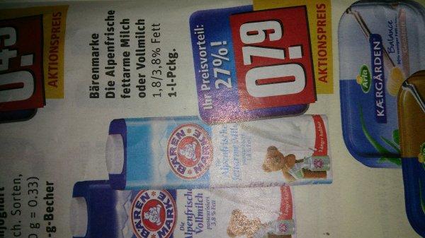 Rewe Bundesweit Bärenmarke Milch 1L(1,8% oder 3,8% Fett) für 0,79 Euro