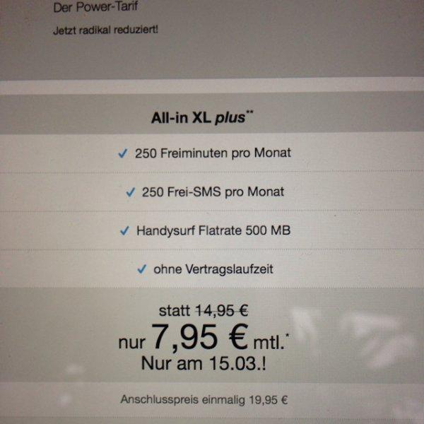 All-in XL Plus für 7,95€statt 14,95€ O2 simplytel