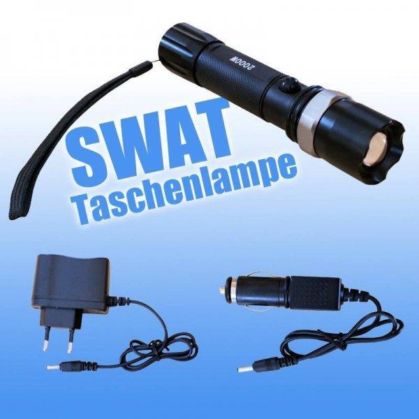 [Ebay] SWAT Taschenlampe HI Power Profi LED inkl.Akkus + KFZ Ladegerät Lichtkanone Cree für 9,90€