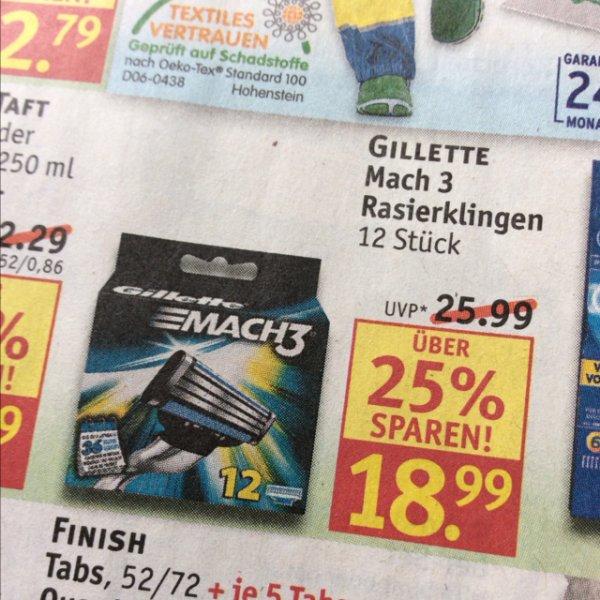 [Offline] Gillette Mach3 12 Klingen für 18,99€ @ Rossmann