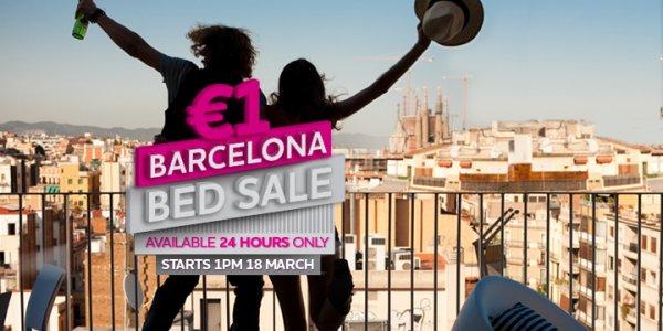 Hostel: Hostel-Betten in Barcelona für 1,- € pro Nacht (Reisezeitraum bis März 2015)