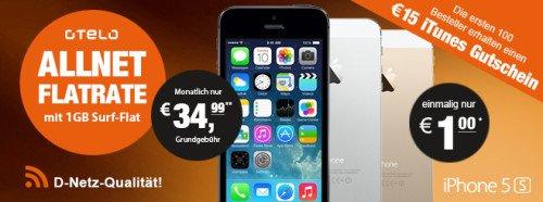 iPhone 5S für 1€ mit Allnet-Flat + SMS-Flat + Surf-Flat (1GB) für nur 34,99€/Monat
