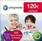 [Qipu] Wieder da! Unitymedia mit 120€ Cashback + 50€ Gutschein (BestChoice) für 2play PLUS 100