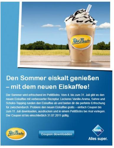 Petit Bistro Coupon für Gratis Eiskaffee via Facebook