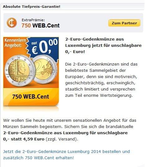 [WEBCENT] 2-Euro-Gedenkmünze aus Luxemburg + 750 Webcent (= 5€ AMAZON GS) für 3,95€