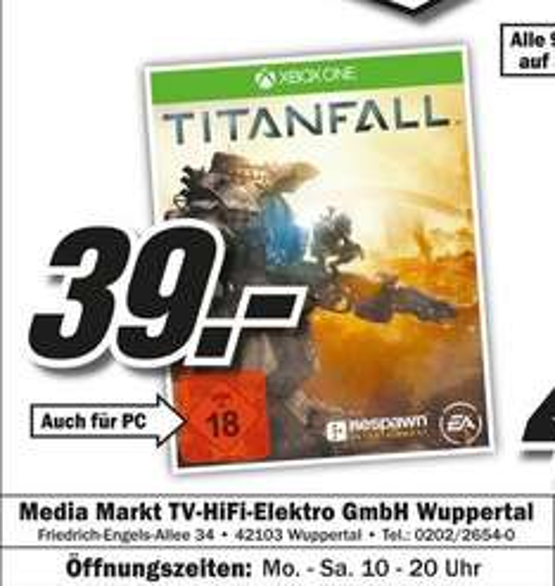 Titanfall (Xbox One) für 39€ Lokal [Mediamarkt Wuppertal]