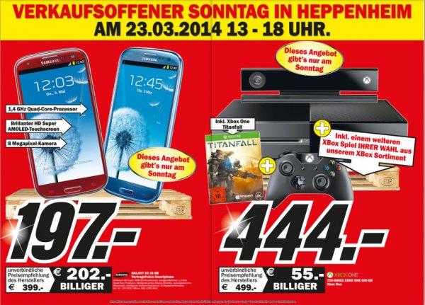 MM Heppenheim Neueröffnung: Grundig VLE545BG (LED, FullHD, 200Hz) für 297€, und weitere/ Verkaufsoffener Sonntag: Samsung Galaxy S3 197€ und Xbox One inkl. Titanfall + Spiel nach Wahl für 444€