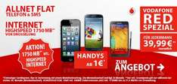 Original Vodafone Red Special Tarif mit Allnet Flat und 1,75GB Internetflat mit LTE + S5 uvm.