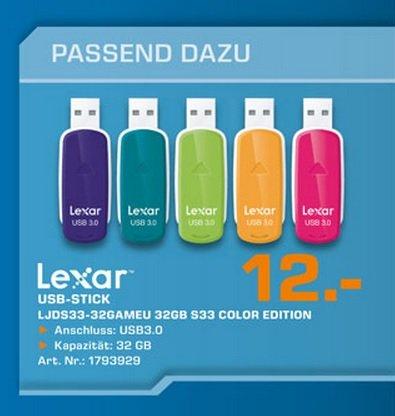 Lexar JumpDrive S33 USB 3.0 Stick 32GB für 12€ Lokal [Saturn Hilden]