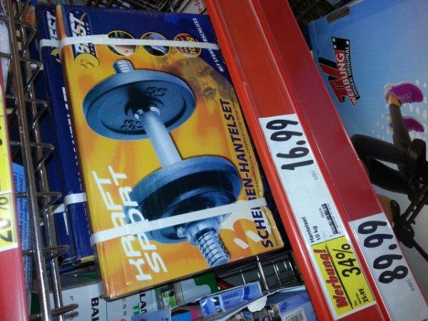 (LOKAL? 33378 Kaufland offline) Scheiben-Hantel-Set 10 kg aus Guss mit Sternverschluss 16,99€ statt 25,99€
