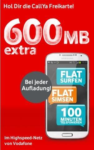 Callya-Prepaid von Vodafone - 600 MB gratis dazu ! BIS 31.03.