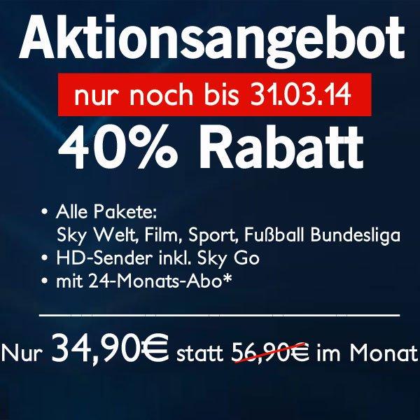 Sky komplett incl. HD und SkyGo, sowie Festplattenreceiver (0€) für 34,90€/Monat bei 24 Monaten Laufzeit