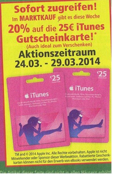 20% auf die 25 € iTunes Karten bei Marktkauf vom 24-29. März