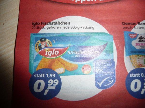 ( Real )  Iglo Fischstäbchen 10 Stück (300g)  für 99 Cent