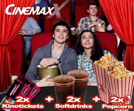 CinemaxX Mega-Kino-Doppel – 2 Tickets + 2 Softdrinks (0,5l) + 2 Popcorn (1,6l) für unschlagbare 19,90 Euro statt 35,80 Euro