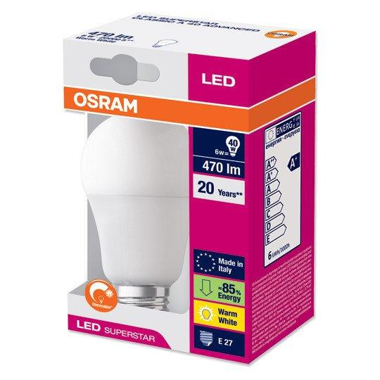 dimmbare Osram LED-Lampe Superstar Classic A40 advanced E27 @groupesales.com
