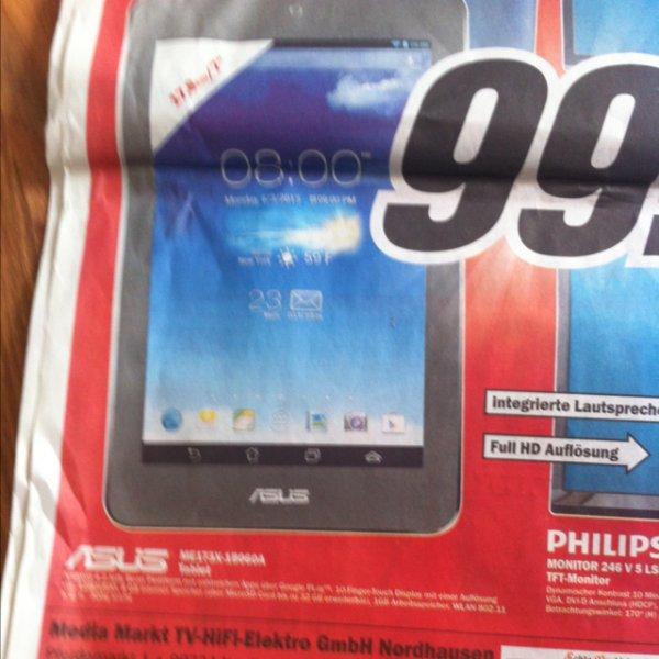 Tablet ASUS ME173X-1B060A für 99€ Idealo ab 129€ MM Nordhausen