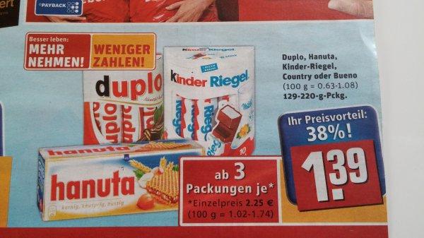 Duplo, hanuta, kinderriegel ab 3 Packungen @ rewe  für eff. 1,39€