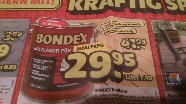 [Hagebaumarkt] 4 L Bondex Holzlasur für Aussen verschiedene Farbtöne für 29,95 € entspricht 7,49 €/L