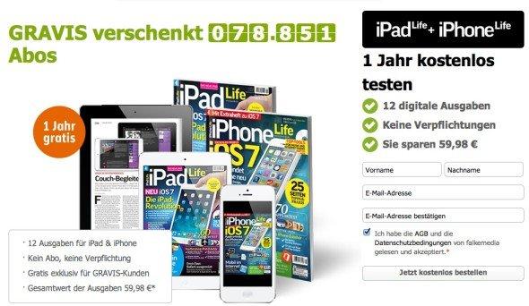 Lesestoff digital: 100.000 Mal 1 Jahr iPhone Life und iPad Life kostenlos