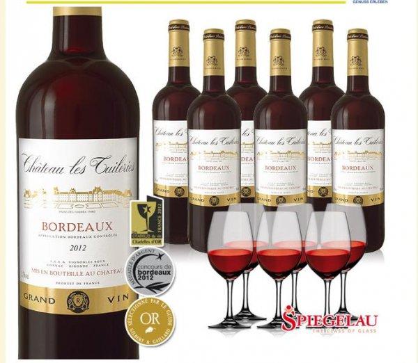 6 Flaschen Bordeaux Wein und 6 Weingläser 19,90 (inkl. VSK) @ebrosia