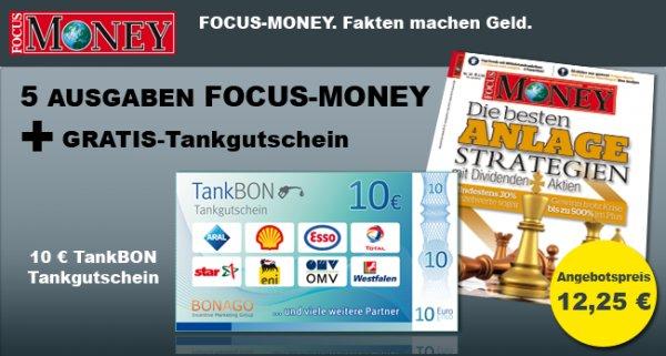 7 Ausgaben FOCUS MONEY für 12,25 € mit 10 € Tankgutschein und 2 € Cashback