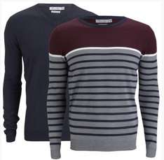 ZAVVI.NL / Brave Soul Men's Marc 2-Pack Knitted Jumpers - Mid Grey Marl/Dark Navy/Ecru/Bordeaux