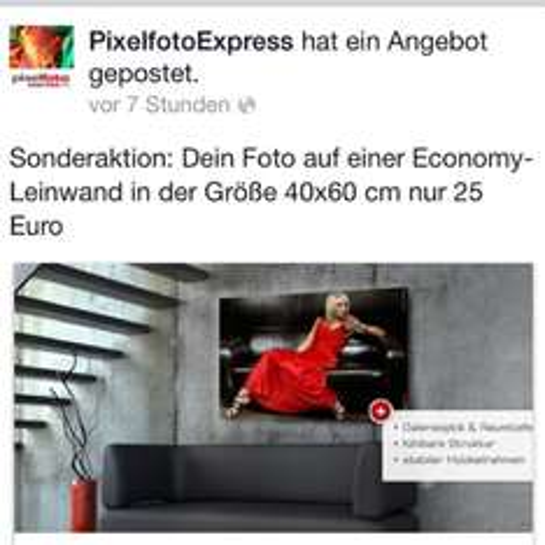 PixelfotoExpress Leinwand 40x60 cm nur 25 EUR