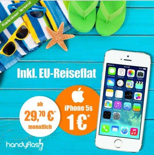 Iphone 5s für 1€ mit BASE all-in Vertrag inkl. EU Reiseflat mit ADAC Rabatt 29,70€ mtl. sonst 33€